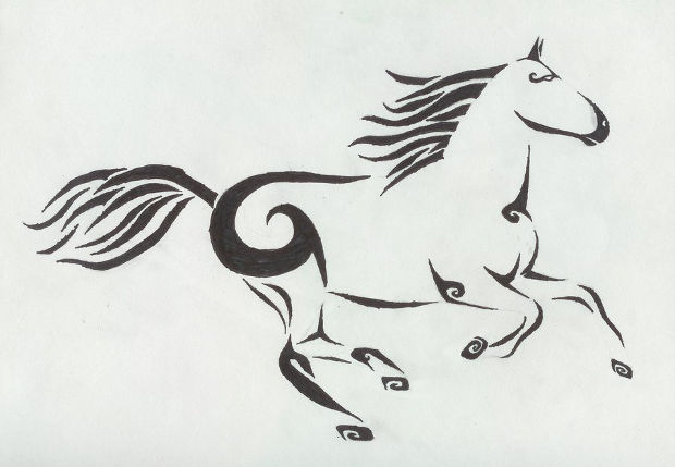 Traditional Tribal Horse Drawing