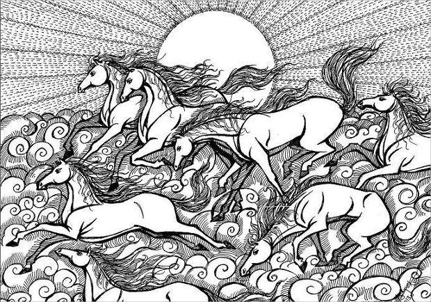 abstract running horse drawing