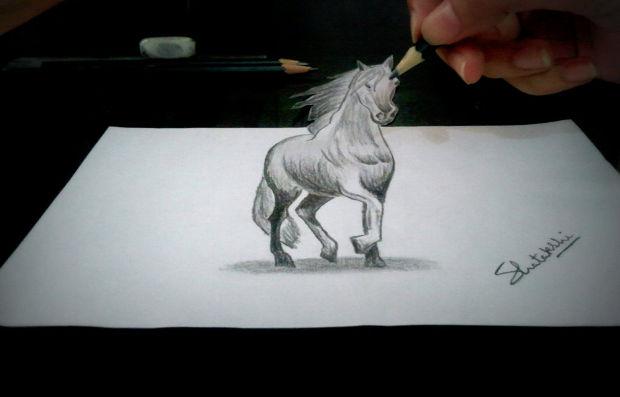3D Horse Pencil Drawing