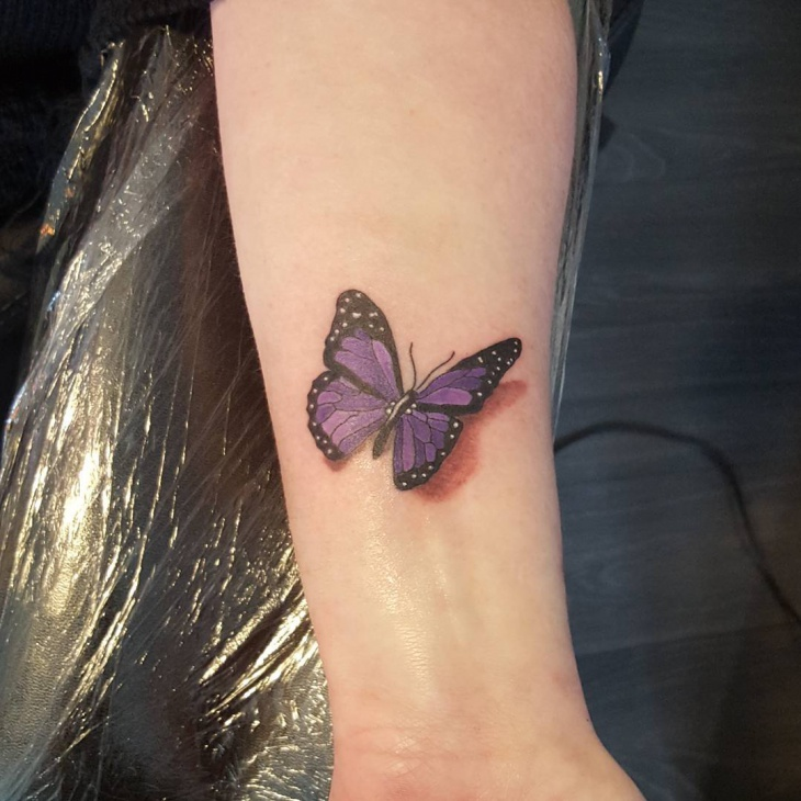 purple 3d butterfly tattoo