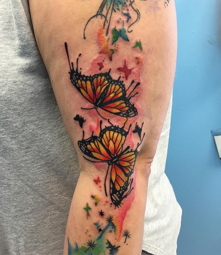 watercolor monarch butterfly tattoo