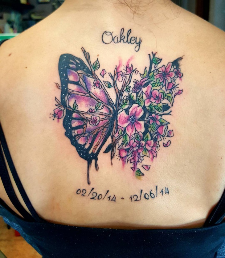 watercolor flower and butterfly tattoo1