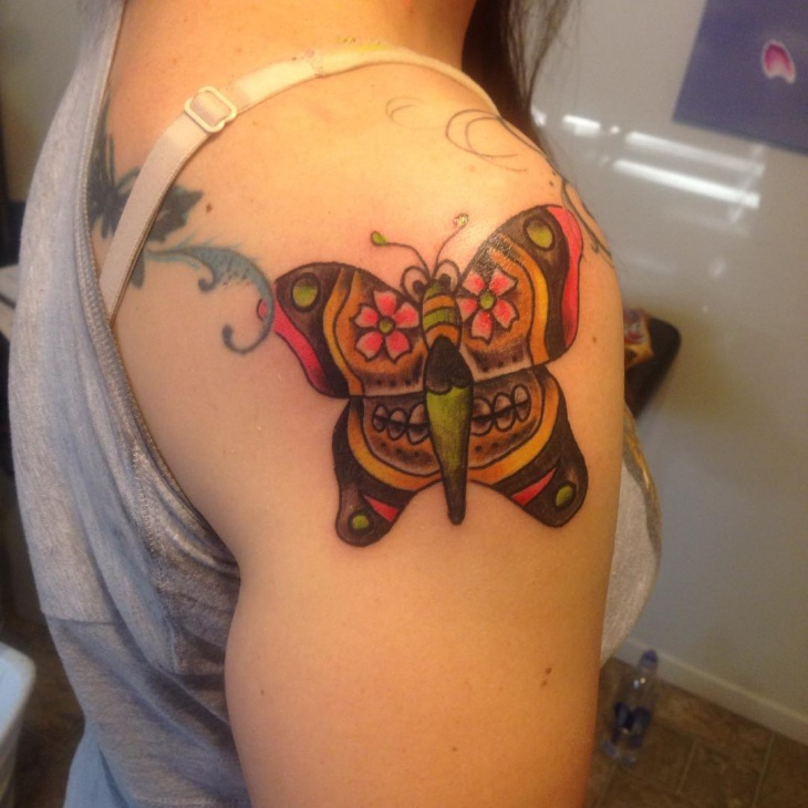 sugar skull butterfly tattoo