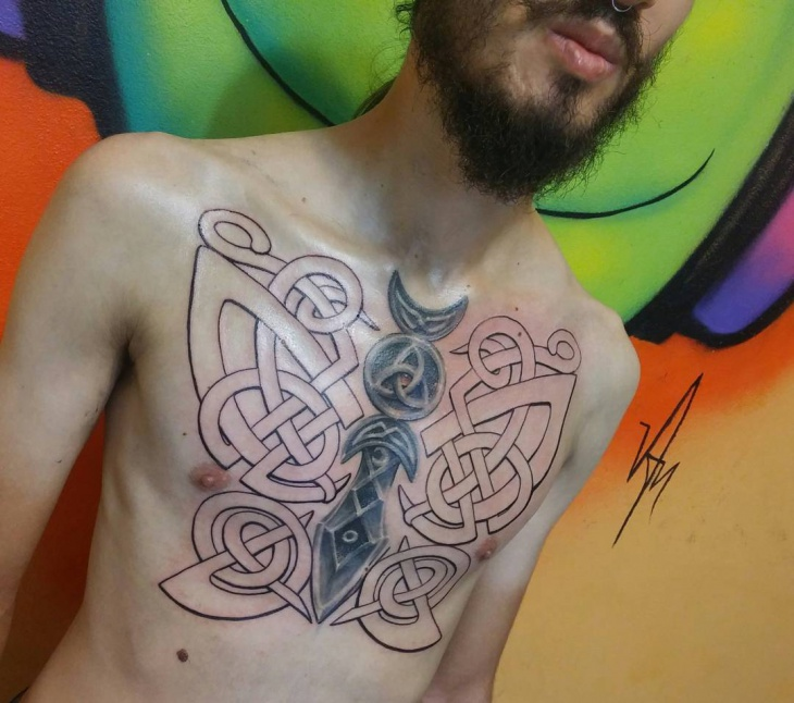 celtic butterfly tattoo on chest