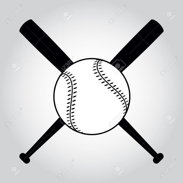 black and white crossed baseball clipart
