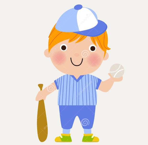 funny boy baseball clipart