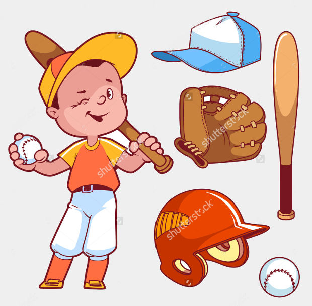 cartoon baseball boy playing clipart
