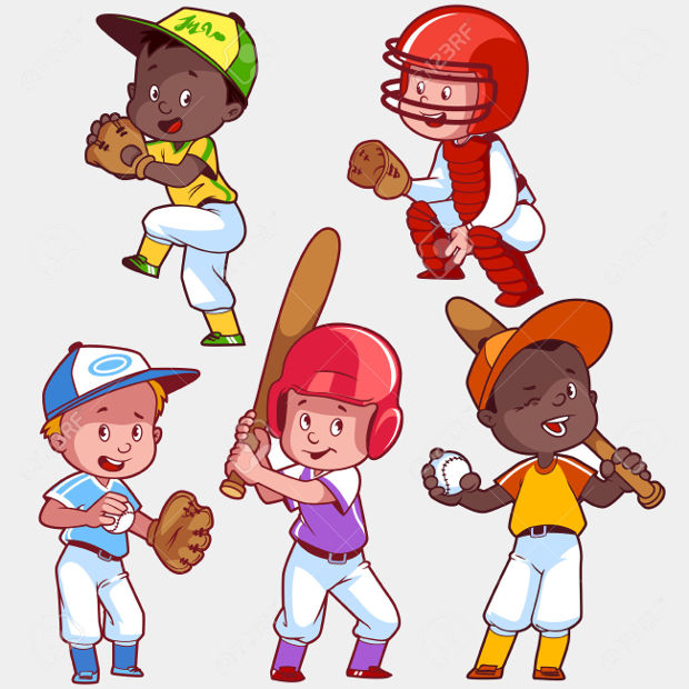 baseball cartoon kids clipart