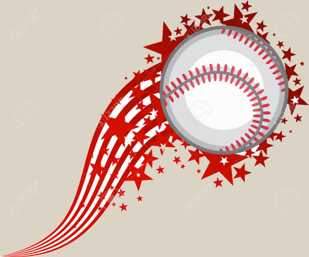 full star flying baseball clipart