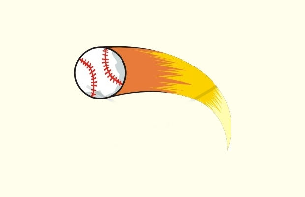 fast flying baseball clipart