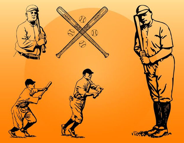 vintage baseball player clipart