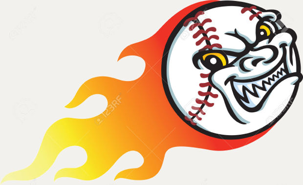 funny flaming baseball clipart