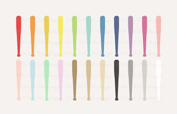 colorful baseball bat clipart