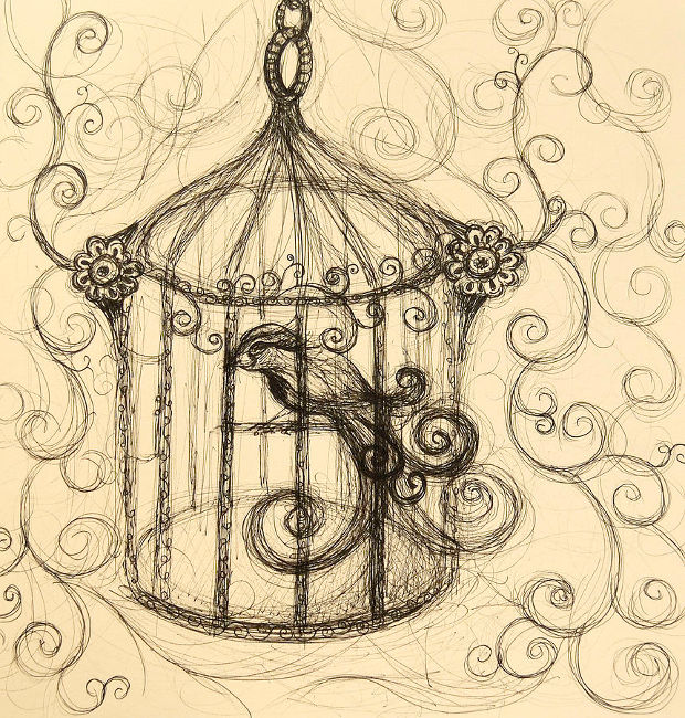 decorative swirl bird cage drawing