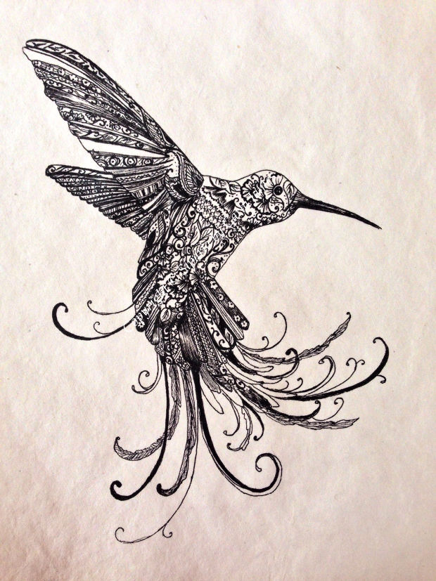 black decorative humming bird drawing