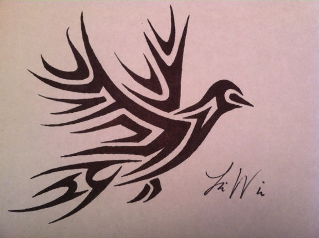 black tribal bird drawing