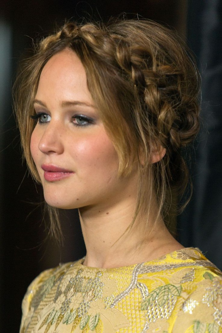 Jennifer Lawrence Rope Braid Around Head Hairdo