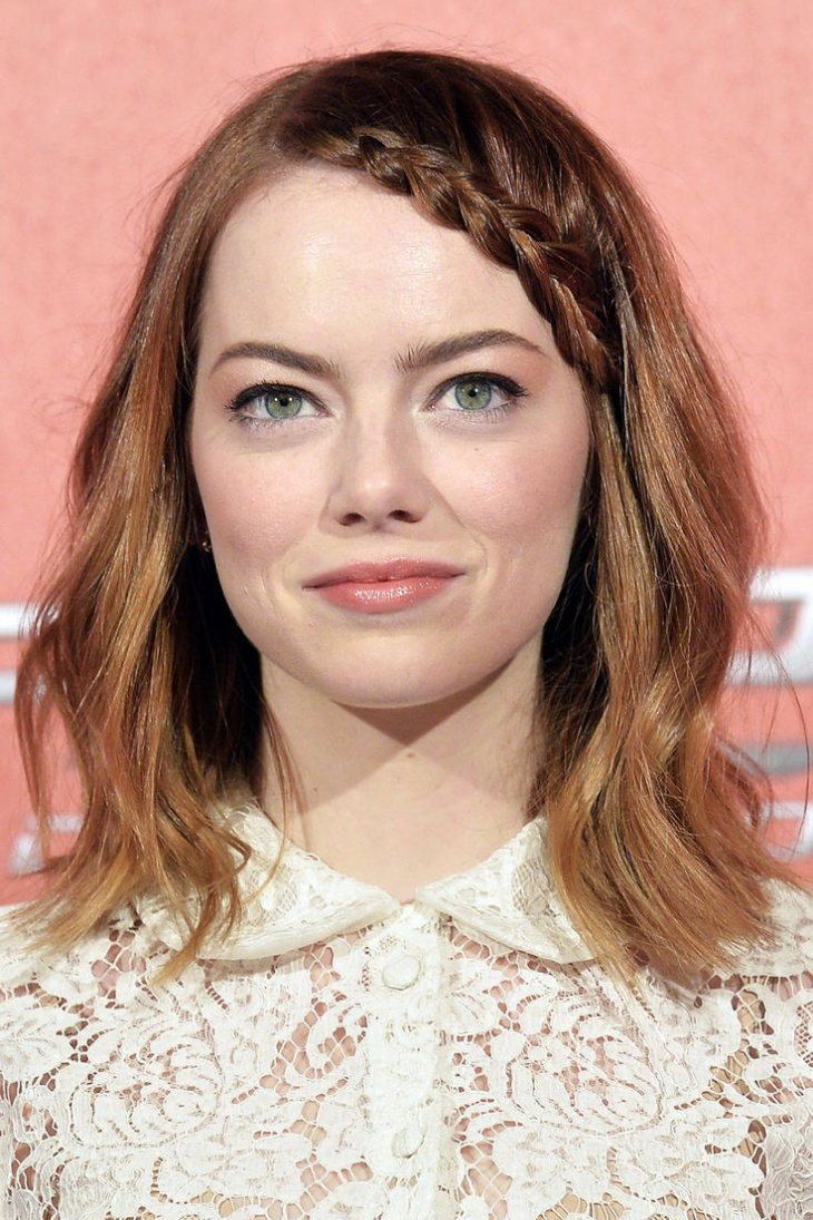 Emma Stone Braided Fringes Hairstyle