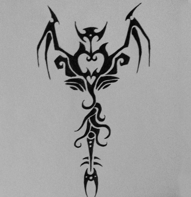 black and white tribal heart drawing