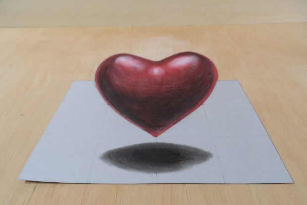 3d red heart drawing