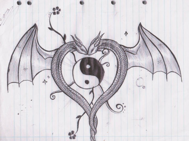 simple dragon heart drawing