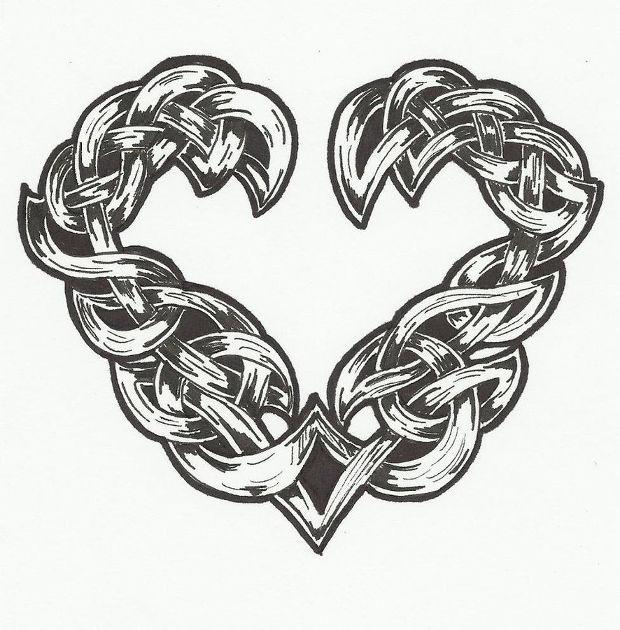 black celtic heart drawing