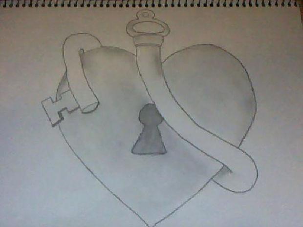 heart and lock key drawing