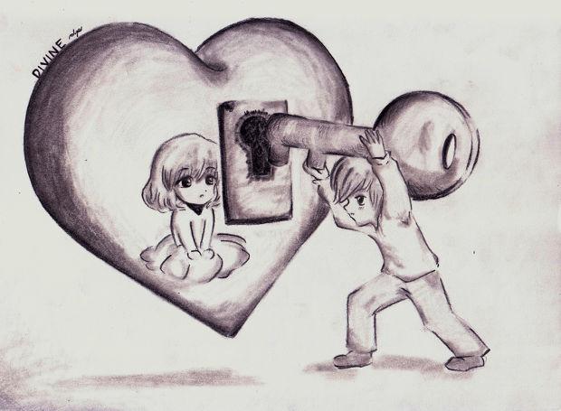 cartoon heart and key drawing