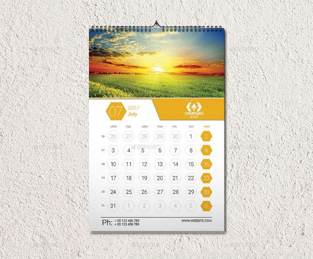 clean wall calendar