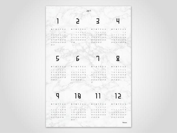 marble wall calendar design