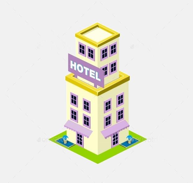 isometric-hotel-building-icon