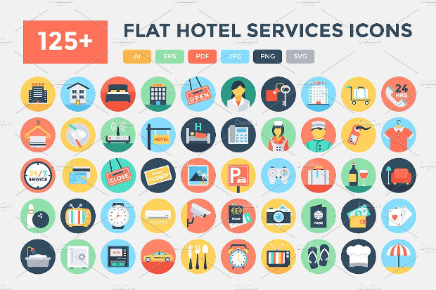 flat hotel service icons