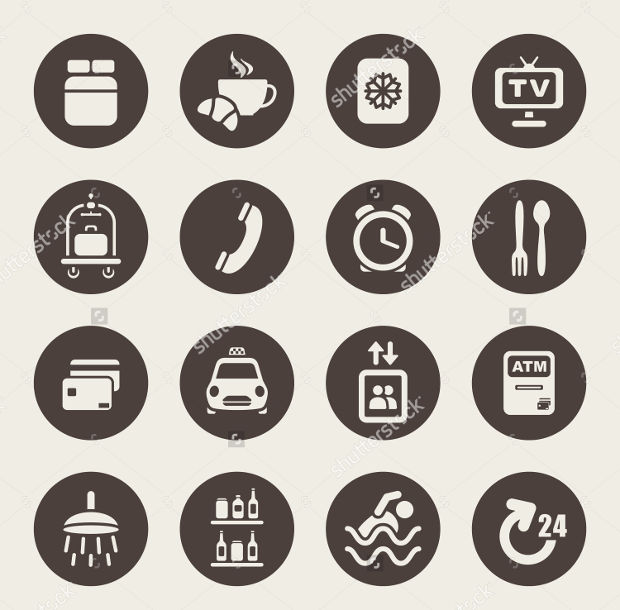 high resolution hotel service icons