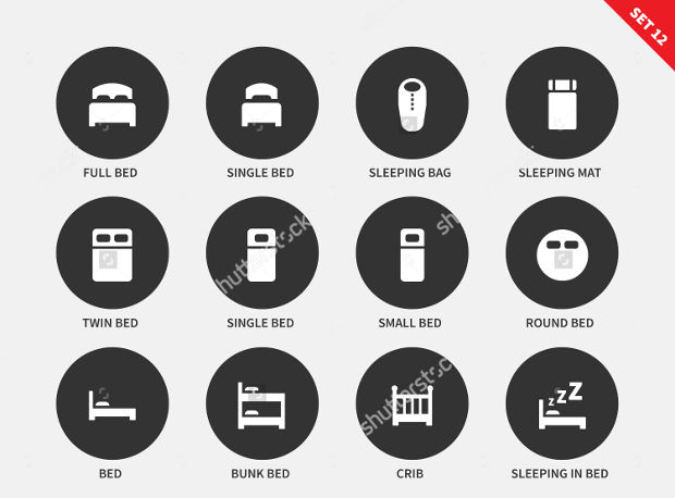 round hotel bed icons