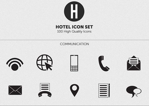 Black Minimal Hotel Icons