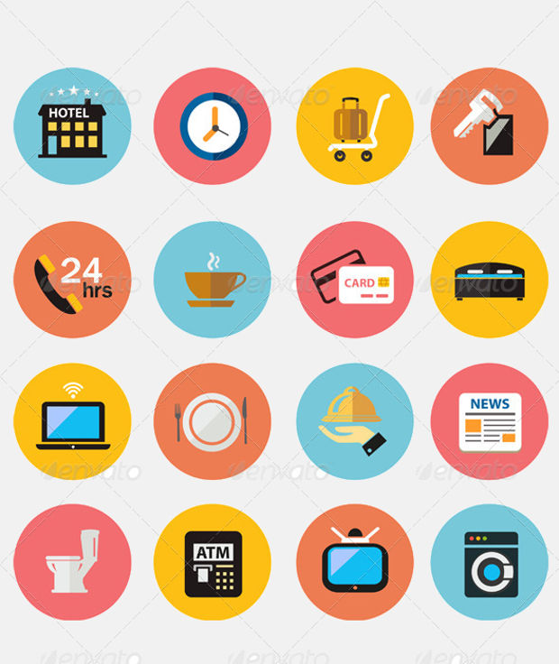 Flat Colorful Hotel Icons