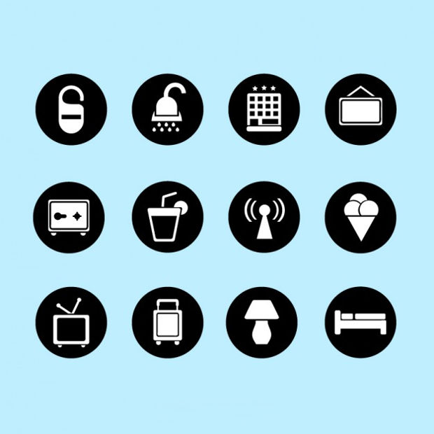 Flat Hotel Round Icons