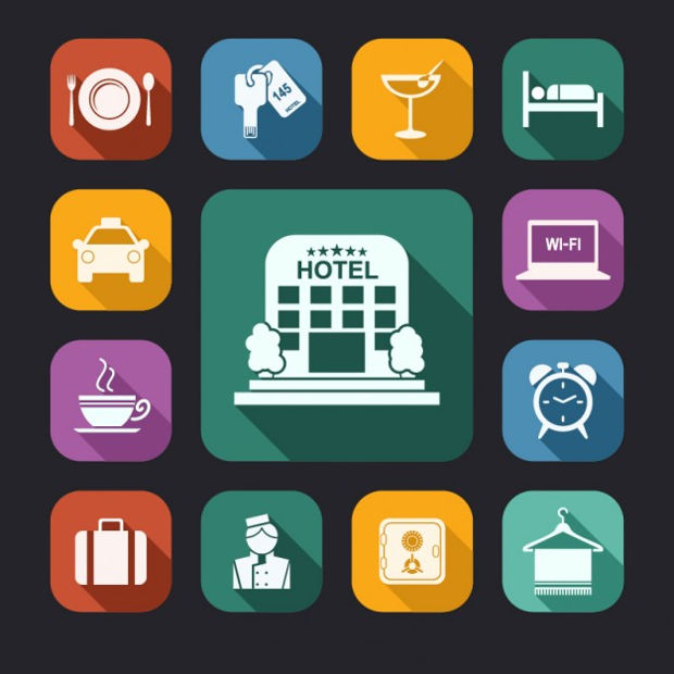 vector hotel white icons