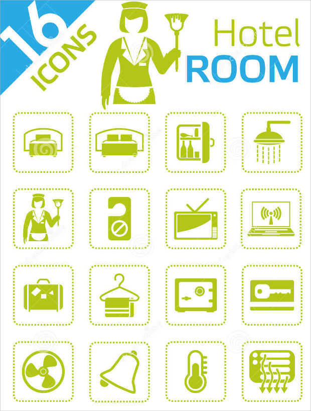 green-hotel-room-icons