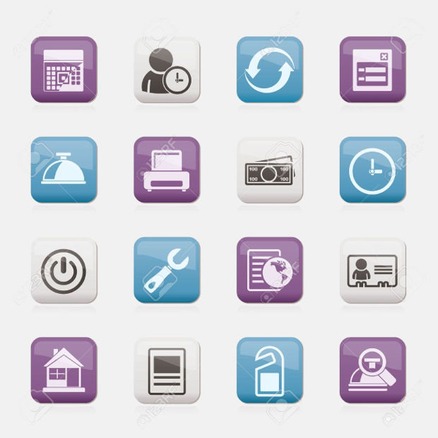 Glossy Hotel Reservation Icons