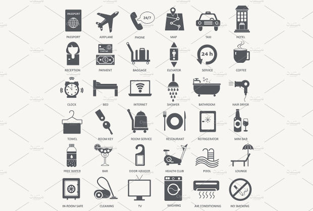 High Quality Black Hotel Icons