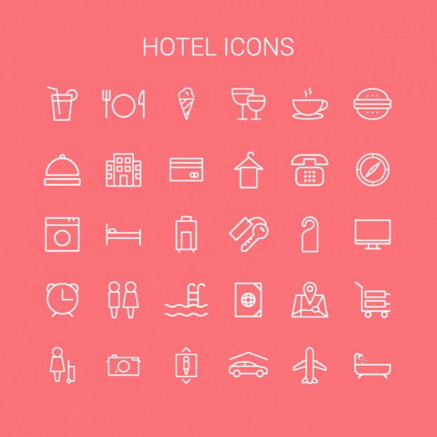 Hotel Thin Line Icons
