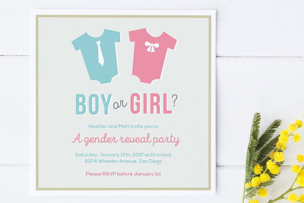 high quality gender reveal invitation design - Free Printable Gender Reveal Party Invitations