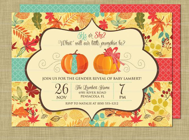 fall gender reveal invitation