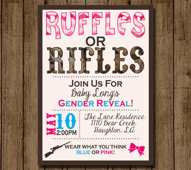 rifles gender reveal invitation