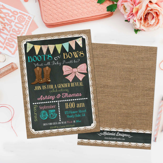 15 Gender Reveal Invitations Printable Psd Ai Eps