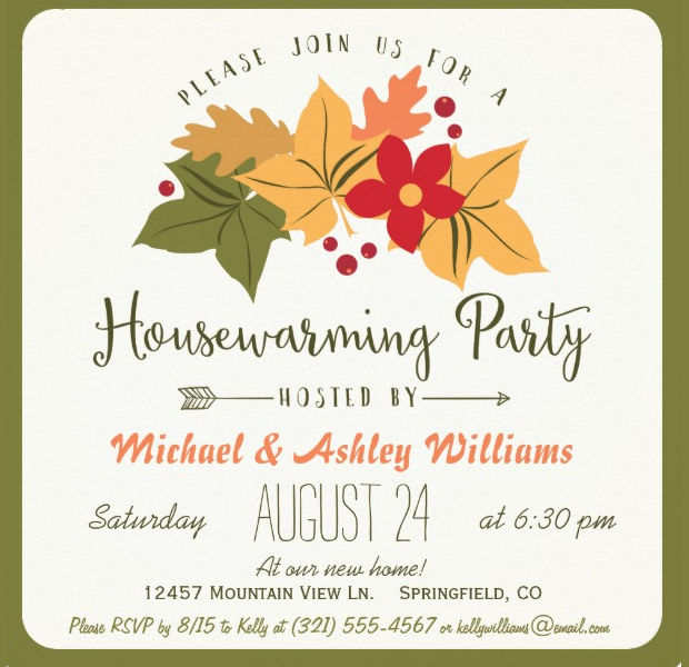 Floral Housewarming Invitation Design