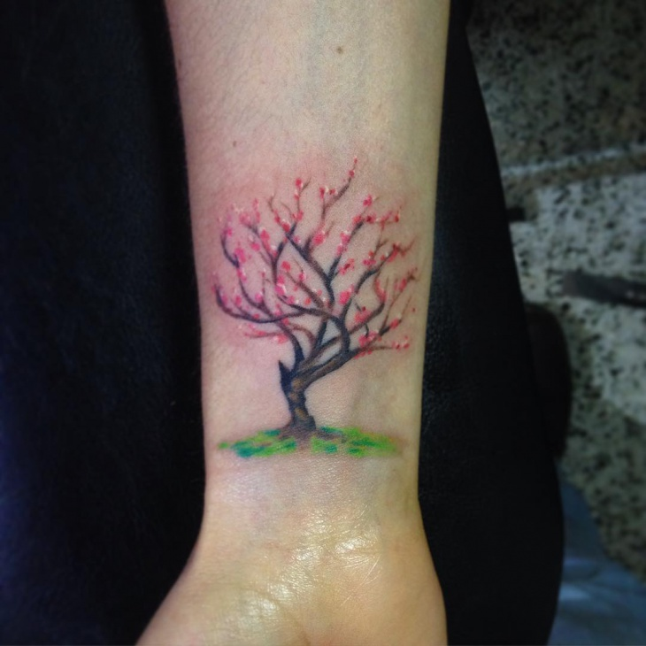 Cherry Blossom Tree Wrist Tattoo
