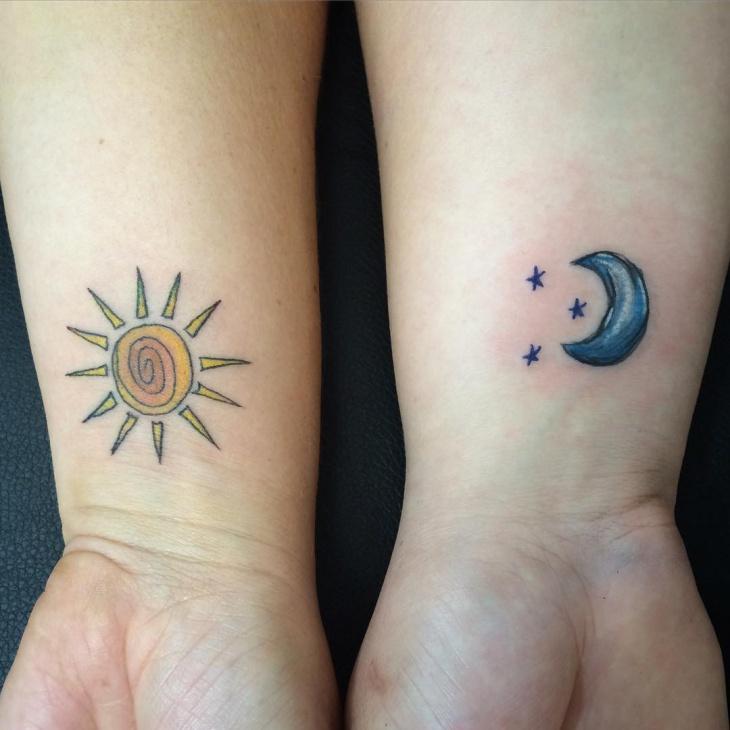 Moon and Star Wrist Tattoo