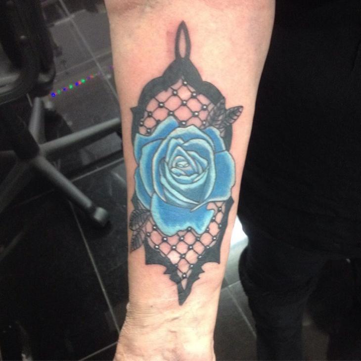 lace rose wrist tattoo design